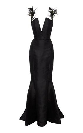 Silk Feather Gown by Aliétte   Moda Operandi