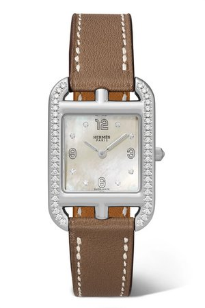 Hermès Timepieces | Cape Cod 23mm small stainless steel, leather, mother-of-pearl and diamond watch | NET-A-PORTER.COM