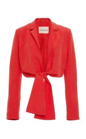 Catalina Tie-Front Linen-Blend Blazer Top by Mara Hoffman   Moda Operandi