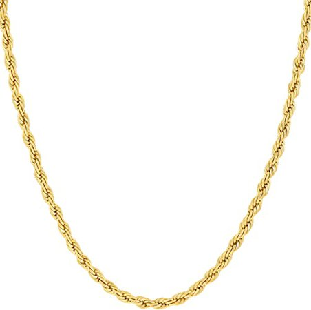 LIFETIME JEWELRY 2mm Rope Chain Necklace for Women and Men 24k Real Gold Plated with Free Lifetime Replacement Guarantee (Gold, 20) | Amazon.com
