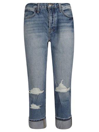 Frame Distressed Straight Leg Jeans