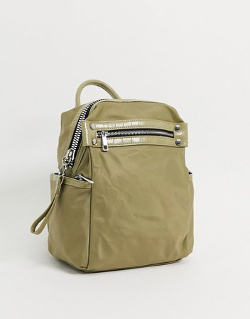 ASOS DESIGN backpack with chunky zip and croc detail in khaki | ASOS