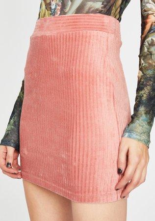 Corduroy Mini Skirt High Waist Ribbed Pink | Dolls Kill