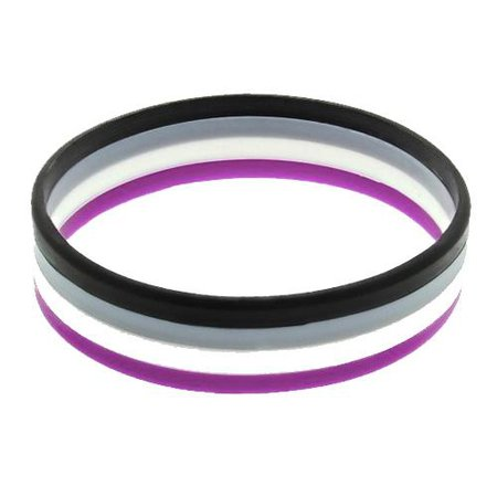 Asexual Flag Colours Silicone Wristband Large – www.gayprideshop.co.uk