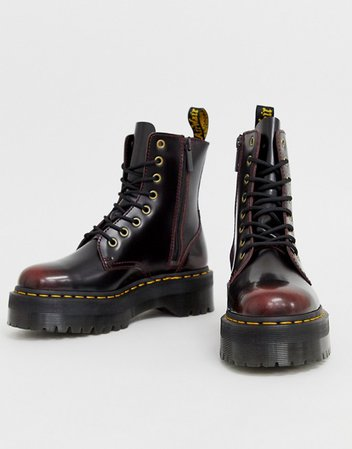 Dr Martens Jadon chunky leather ankle boots in cherry | ASOS