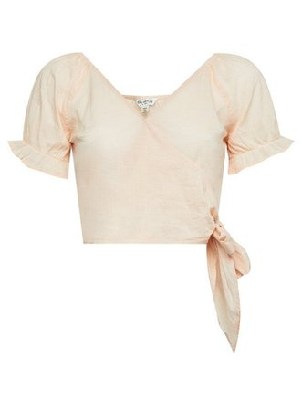 Peach Crop Top with Linen | Miss Selfridge