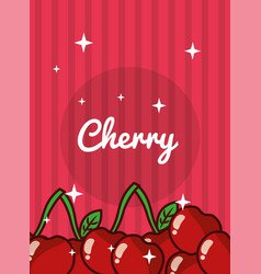 Pattern with cute cherries on stripes Royalty Free Vector