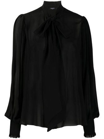 Balmain Pussy Bow Silk Blouse - Farfetch