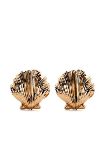 Shop gold Saint Laurent oversize shell earrings with Express Delivery - Farfetch