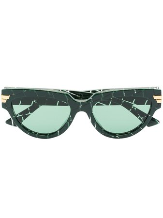Shop green Bottega Veneta Eyewear cat-eye croc-effect sunglasses with Express Delivery - Farfetch