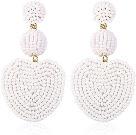 Amazon.com: Statement Drop Heart Earrings, Handmade Bohemian Beaded Earrings for Valentine's Day Party Daily Meeting Club with Gift Box HLE145 White: Jewelry