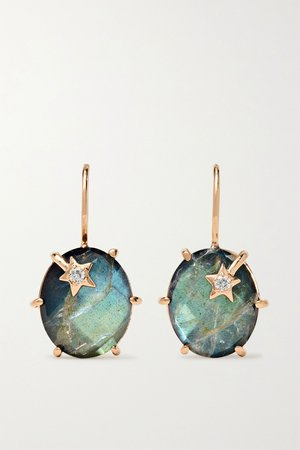 Rose gold Mini Galaxy 18-karat rose gold, labradorite and diamond earrings | Andrea Fohrman | NET-A-PORTER