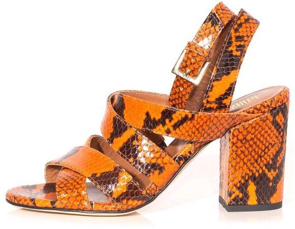 Python Print Strappy Sandals in Orange