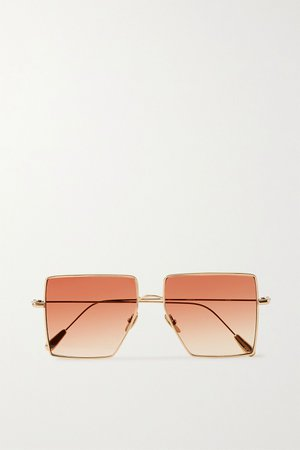 Gold Oversized square-frame gold-tone sunglasses | Kaleos | NET-A-PORTER