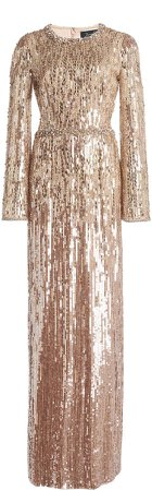 Jenny Packham Metallic Sequined Gown