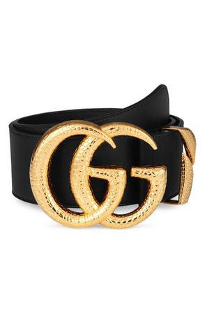 Gucci GG Marmont Lizard Buckle Leather Belt | Nordstrom