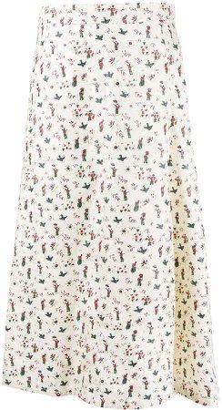 Printed Asymmetric Skirt