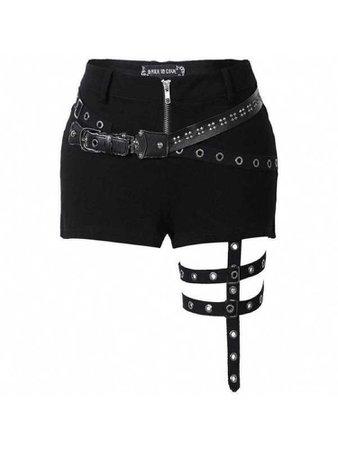 Black strapped shorts