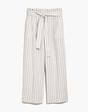 Tie-Waist Huston Pull-On Pants in Stripe White