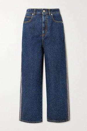 Blue Striped high-rise wide-leg jeans   Alexander McQueen   NET-A-PORTER