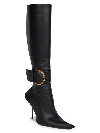 Balenciaga Essex Leather Buckle Tall Boots   SaksFifthAvenue