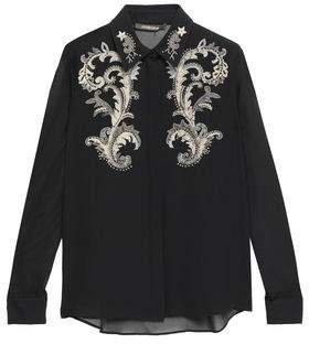 Embellished Silk-georgette Blouse
