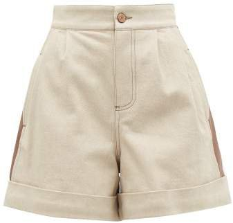 Panelled Denim Shorts - Womens - Beige