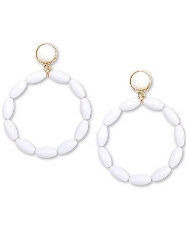 Zenzii Gold-Tone Beaded Drop Hoop Earrings & Reviews - Earrings - Jewelry & Watches - Macy's