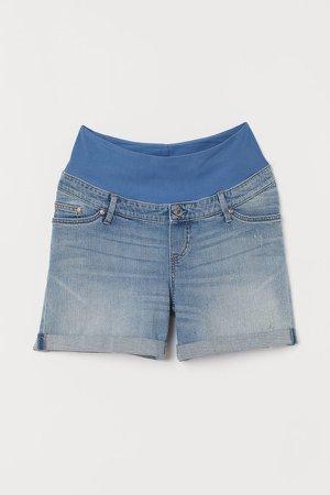 MAMA Boyfriend Denim Shorts - Blue