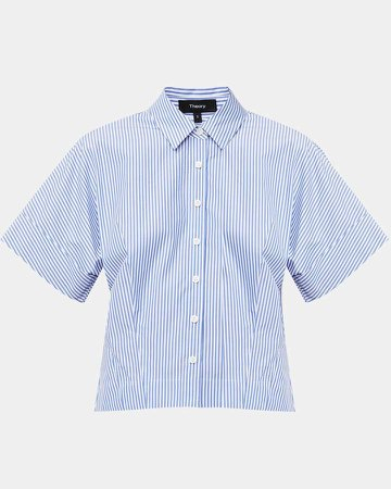 Cotton Striped Cropped Button-Down