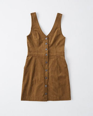 Womens Button-Through Pinafore Dress | Womens Select Styles On Sale | Abercrombie.com