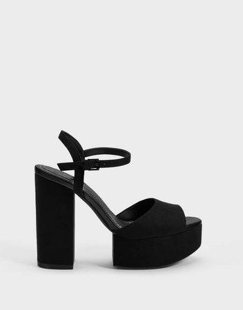 High-heel platform sandals - Shoes - Bershka United Kingdom