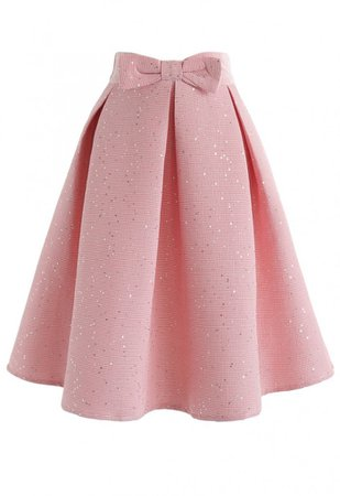 Sweet Your Heart Bowknot Sequins Pleated Skirt in Pink - NEW ARRIVALS - Retro, Indie and Unique Fashion