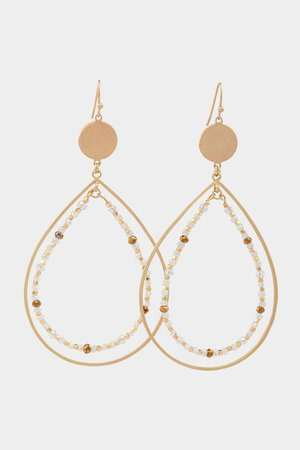 Rachel Beaded Inner Teardrop Earrings | francesca's