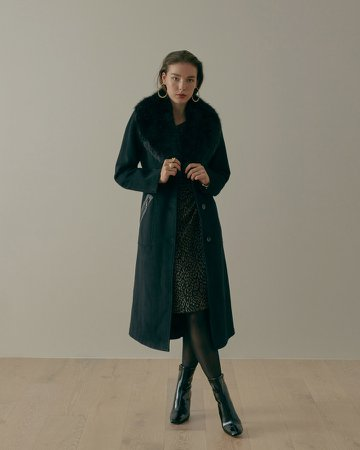 Faux Fur-Collar Coat