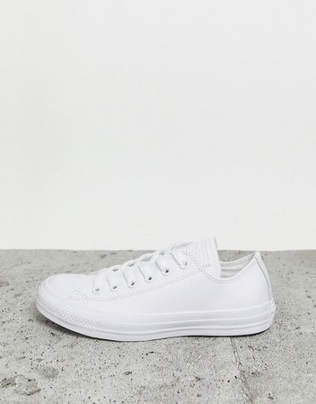 Converse Chuck Taylor All Star Ox White Leather Monochrome Sneakers | ASOS