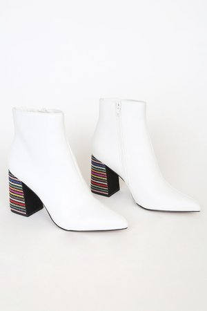 Betsey Johnson Kassie - White Boots - Beaded Rhinestone Boots - Lulus