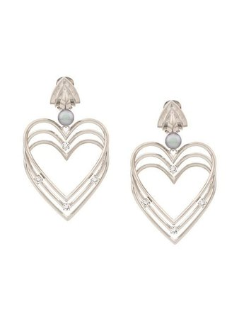 Balenciaga Heart Pearl Earrings 569960TZ96C Silver | Farfetch