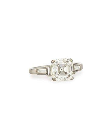 NM Estate Estate Art Deco Asscher-Cut Diamond Engagement Ring, Size 6.5   Neiman Marcus