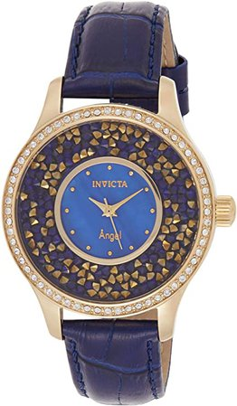 Invicta Women's Angel Stainless Steel Quartz Watch with Leather Calfskin Strap, Blue, 18 (Model: 24590): Watches