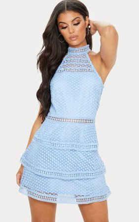 Raine Dusty Blue Lace Panel Tiered Bodycon Dress | PrettyLittleThing