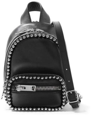 Attica Studded Leather Shoulder Bag - Black