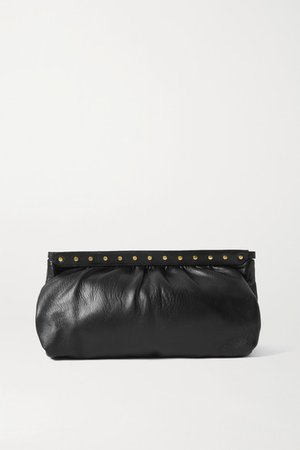 Luz Studded Leather Clutch - Black