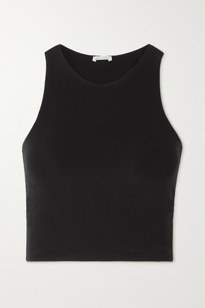 Net Sustain Calliope Cropped Stretch Organic Pima Cotton-jersey Tank - Black