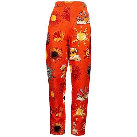 Vintage MOSCHINO JEANS Summer Sun Fun Print Pants at 1stDibs