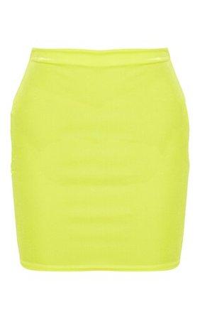 Neon Yellow Velvet Mini Skirt | Skirts | PrettyLittleThing