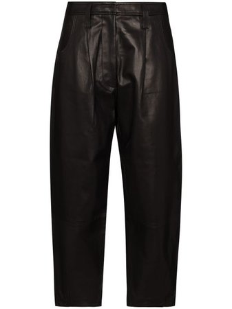 Shop black FRAME Barrel wide-leg leather trousers with Express Delivery - Farfetch