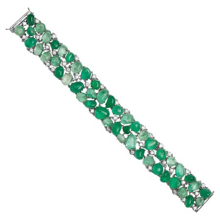 Muzo Emerald Colombia Classic 2 Row Cuff Bracelet Diamonds 18K White Gold For Sale at 1stDibs