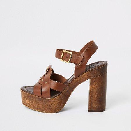 Brown leather platform heels - Sandals - Shoes & Boots - women