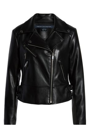French Connection Quilted Back Faux Leather Moto Jacket | Nordstrom
